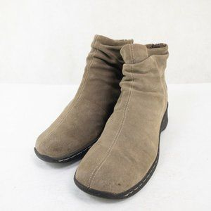 Bass Womens Beige Zip Up Slouch Ankle Boots 10 M